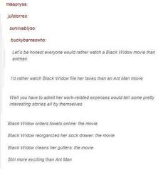 This important observation about exactly which movies Marvel is planning to make. We really want a black widow movie