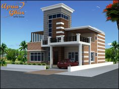 A beautiful Duplex House Design with 4 Bedrooms in 252m2 (21m X 12m).  View the Floor Plan here: http://www.apnaghar.co.in/house-design-364.aspx  Call Toll-Free No.- 1800-102-9440 Email: support@apnaghar.co.in