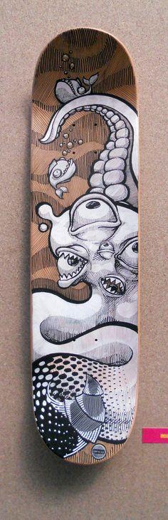 Skate Art Exhibition by INVA , via Behance - Brettl - Painted Skateboard, Skateboard Deck Art, Skateboard Design, Tattoo Negro, Art Patin, Brainstorm, Snowboard Design, Skate Art, Skate Shoe