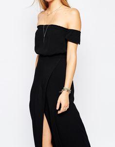 Flynn Skye Bella Off Shoulder Maxi Dress in Black