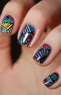 Dressed Up Nails - Push-inspired geometric freehand nail art Diy Nails, Cute Nails, Pretty Nails, Fabulous Nails, Gorgeous Nails, Nail Art Designs, Nails Design, 3d Design, Geometric Nail Art