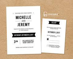 DIY Free PDF Printable Wedding Invitation and RSVP