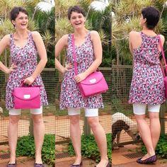 blog v@ LOOKS | por leila diniz: Muito ROSA e BRANCO no look com vestido e bermuda