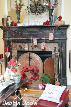 Valentine mantel with diy gift tag banner and vintage flair