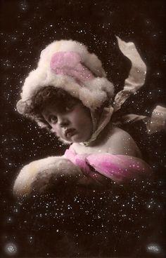 Edwardian Children Romantic Fantasy Baby Girl Night Portrait in The Snow Christmas Fancy Glamour with Fur Original Rare 1900s Photo Postcard