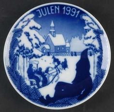 LOT-PORSGRUND-Christmas-Plates-Norway-1988-1989-1990-1991-1992-5-Pc-Complete-Set Plates For Sale, Christmas Plates, Home Kitchens, Norway, Kitchen Dining, Royal Families, Tableware, Tabletop, Blues