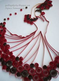 Quilled dancer. This would also be really pretty with fringed flowers at the base of her dress instead of loose circles.