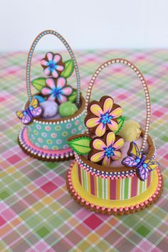 Contoured Cookie Easter Baskets - By Julia M. Usher, www.juliausher.com  Happy Easter!   P.S. The handle is fondant, and the basket is filled with sanding sugar and a malted egg here and there. But everything else is cookie.