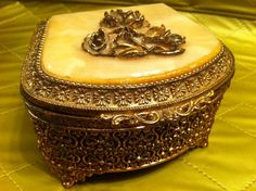 Vintage Gold Painted Metal Box by HotTrampVintage on Etsy