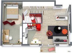 RoomSketcher Wohnidee: Kleine Wohnung einrichten - 3D Grundriss