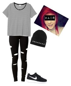 """""""Untitled #109"""" by bringmxthxhorizon ❤ liked on Polyvore featuring Estradeur, NIKE and Monki"""