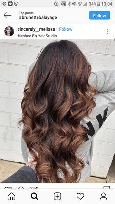 Brown Hair With Highlights Long Hair Highlights, Brown Hair Balayage, Hair Color Balayage, Hair Dye Colors, Hair Colour, Gorgeous Hair Color, Aesthetic Hair, Light Brown Hair, Brunette Hair