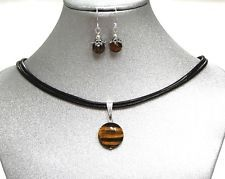 Natural Gemstone Tiger's Eye SMALL Pendant Necklace Earrings Protection USA