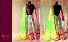 JW's Face print black and white georgette lehenga with jet black velvet blouse and neon pink brocade full sleeves. The outfit is adorned with bright green dupatta with gota motifs   https://www.facebook.com/photo.php?fbid=614737505245242&set=a.604336059618720.1073741828.125825320803132&type=3&theater