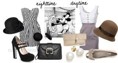 """""""Mickey Mouse Fashion: Steamboat Willie"""" on Polyvore dresses. White. Buttons. Dress. Hat."""
