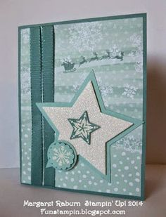 Fun Stampin' with Margaret! Bright and Beautiful, Holiday Home and Many Merry Stars sets. Lost Lagoon, Whisper White, Pool Party, All is Calm DSP. Winter Cards, Holiday Cards, Christmas Cards, Stampin Up Christmas, Christmas Star, Christmas 2014, Stampin Up Many Merry Stars, Christmas Brochure, Star Cards