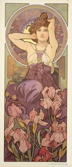 """Amethyst"" by Alphonse Mucha.  Gorgeous, and I'd love to have that dress in real life too"