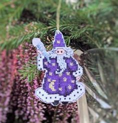 Cross Stitch Wizard Handmade Cutout Christmas Ornament