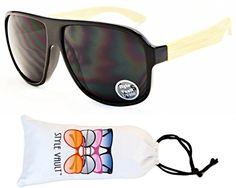 cbbe331bbfd A21bbvp Style Vault Flat Top Turbo Aviator Sunglasses E2997G  BlackBambooDark Lens UV400     You