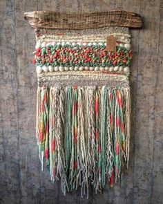 An August Walk in the Woods Woven Wall Hanging ~ Grace Mahoney Weaving with wire, buttons and beads. An August Walk in the Woods Woven Wall Hanging ~ Grace Mahoney… Weaving Loom Diy, Weaving Art, Tapestry Weaving, Hand Weaving, Weaving Wall Hanging, Wall Hangings, Yarn Wall Art, Weaving Textiles, Weaving Projects