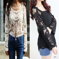 Sexy Semi Women Sleeve Embroidery Floral Lace Crochet Tee T Shirt Top Blouse | eBay