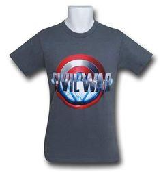 Captain America Civil War Split Logo on Charcoal T-Shirt 4e437f0c8d20