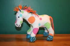 Multicolored Colorful Polka Dots Rainbow Plush Pony by thelopsidedfrog, $25.00