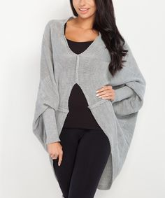 Take a look at this Fobya Gray Cape-Sleeve Sweater today!