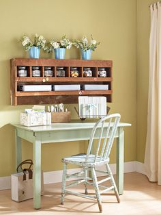 A flea market desk and table is a great way to add rustic charm. More ideas for flea market finds: http://www.bhg.com/decorating/storage/projects/from-flea-market-finds-to-savvy-storage/?socsrc=bhgpin071112#page=8