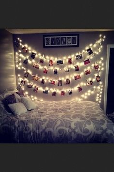 polaroid wall for guests..the lights would be cool, too