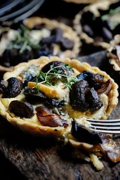 thyme, mushroom, roasted red onion and blue cheese tarts
