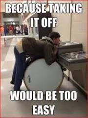 Band humor- Idk why this reminds me of a drummer I used to know, he never did anything like this, but for some reason I can still picture him trying. Lol I pin it cause it makes the band nerd in me laugh. Music Jokes, Music Humor, Choir Humor, Funny Music, Marching Band Memes, Marching Band Problems, Haha, Band Nerd, Band Camp
