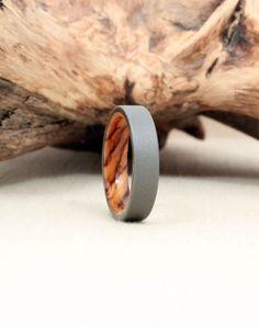 Size 7.75 - Titanium Lined with Bethlehem Olivewood Wood Ring Titanium Ring