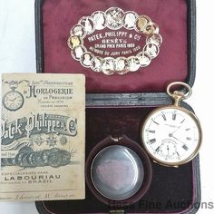 Amazing 51mm Time Machine Patek Philippe Massive 18k Gold Pocket Watch Box Paper #PatekPhilippe