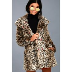 Chloe Leopard Print Faux Fur Coat ($135) ❤ liked on Polyvore featuring outerwear, coats, brown, fake fur leopard coat, leopard print faux fur coat, leopard coat, brown faux fur coat and fitted coat