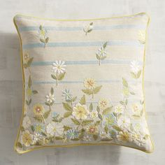 Blooming with personality, our embroidered pillow brings an abundance of pretty to your living room. With a cotton cover and a hidden zipper, the cascading field of floral embroidery, blue stripes and solid yellow piping will never grow old. Cute Pillows, Decorative Throw Pillows, Bed Pillows, Pillow Embroidery, Embroidered Cushions, Hand Embroidery Designs, Floral Embroidery, Pichwai Paintings, Striped Cushions