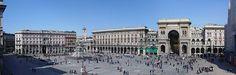 Milán - Piazza del Duomo, la plaza principal y el centro de la mayor parte de la ciudad, rodeado de varios palacios y edificios importantes, como la Catedral de Milán, la Galleria Vittorio Emanuele II y el Palacio Real de Milán