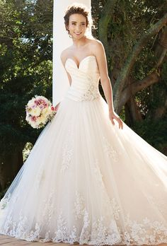 Brides: Sophia Tolli. Romantic, lace, satin and tulle applique, strapless dress. Sweetheart neckline, ball gown, with floor length hemline.