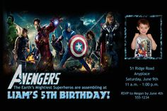 Custom Designed Avengers Super Hero by RSVPinvitationsbyme on Etsy, $7.00