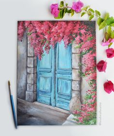Mediterranean- Original Acrylic Painting on Canvas, in/, unframed . Original acrylic painting of old door and Bougainvillea flower. Scenery inspired by the… Cute Canvas Paintings, Small Canvas Art, Easy Canvas Painting, Mini Canvas Art, Watercolor Paintings, Painting Art, Acrylic Canvas, Watercolor Tips, Painting Lessons
