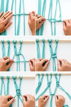 Macrame is IN, so now& the time to bust out your knot-tying skills. With al. Macrame Wall Hanging Curtain Using Tee Shirt Strips T Shirt Yarn Macra-make a Gorgeous Macrame Wall Hanging via Brit + Co. with jersey fabric Use 4 strips of fabric to tie each k Art Macramé, Tshirt Garn, Tee Shirt, Macrame Curtain, Curtain Hanging, Hanging Fabric, Macrame Tutorial, Macrame Projects, Diy Projects
