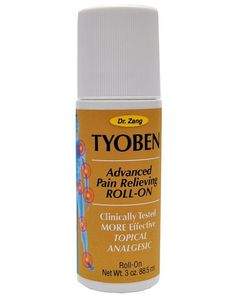 Dr. Zang's TYOBEN Advance Pain Relieving ROLL - ON $12.95  In stock Dr. Zangs Tyoben is an all natural alternative to pain medication providing soothing deep longer lasting relief to areas like the shoulders arms legs back neck knees and elbows.