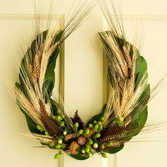 Horseshoe-Shape Fall Wreath - instructions at bhg.com /v
