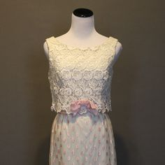 Vintage 1960s Dress Formal Prom Gown Full Length Floor Length White Pink Floral Shift Small on Etsy, $78.50