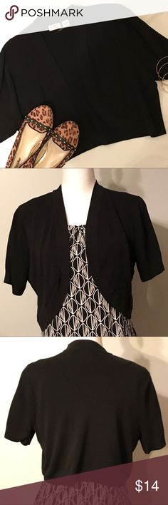 Cato plus size shrug Black, cropped, short sleeve Cato shrug/ cover up. Versatile, can be worn with so many different outfits. Excellent condition. Size 14/16W. Cato Tops