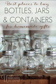Resources for Handmade Gifts- best place to buy bottles, jars, containers, supplies for DIY essential oil gifts Young Living Oils, Young Living Essential Oils, Just In Case, Just For You, Pots, Mason Jar Wine Glass, Jar Gifts, Food Gifts, Bottles And Jars
