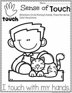 Sense of Touch Coloring Page for Preschool #5senses #preschoolworksheets #planningplaytime Five Senses Preschool, 5 Senses Activities, My Five Senses, Body Preschool, Preschool Science, Preschool Lessons, Preschool Worksheets, Lessons For Kids, Science Activities