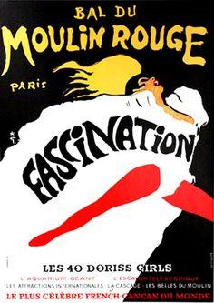 Gruau Moulin Rouge Fascination    Galerie Montmartre:  Original Vintage Posters  Rene Gruau  Moulin Rouge Fascination 1967