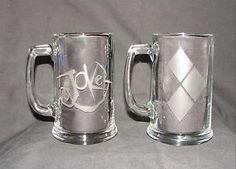 Joker and Harley Quinn Super Villian DC Comics 2 Mug or Glass Set Hand Etched | eBay