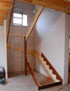 Косоуры установлены Small Space Staircase, Loft Staircase, House Stairs, Staircase Design, Rustic Stairs, Wooden Stairs, Building Stairs, Building A House, Design Your Home